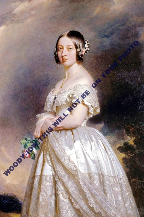 mm615 - young Queen Victoria holds rose - art portrait